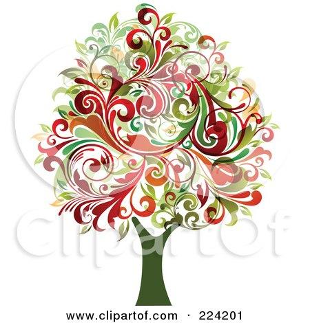 Royalty-Free (RF) Clipart Illustration of a Flourish Foliage Tree by OnFocusMedia