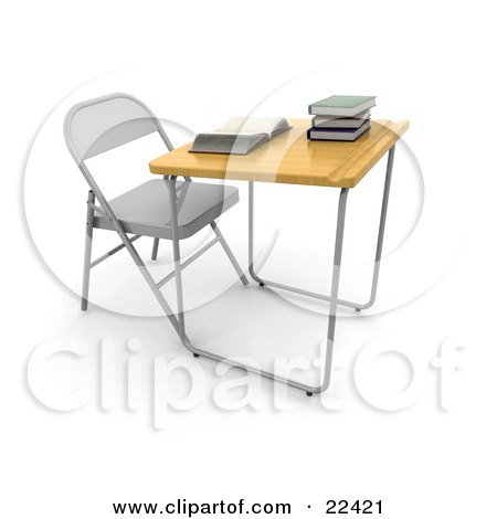 Clipart Illustration of a Single Student School Desk In A Class Room, With A Wooden Surface And A Groove For Pencils, An Open Book And A Stack Of Books On Top by KJ Pargeter