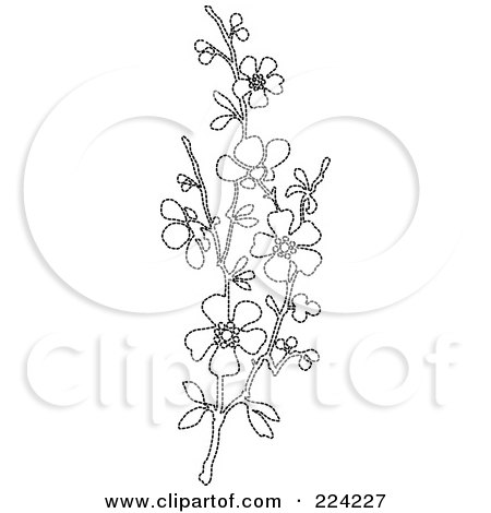 Royalty-Free (RF) Clipart Illustration of a Vertical Border Of Black And White Blossoms - 3 by BestVector