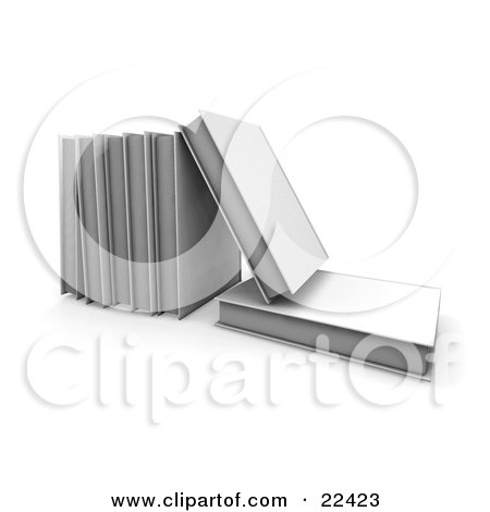 Clipart Illustration of a White Book Lying Flat With A A Book On Top Of It, Leaning Against A Row Of Other Books by KJ Pargeter