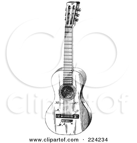 Royalty-Free (RF) Clipart Illustration of a Black And White Guitar - 3 by BestVector