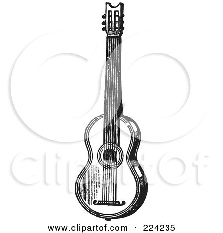 Royalty-Free (RF) Clipart Illustration of a Black And White Guitar - 2 by BestVector