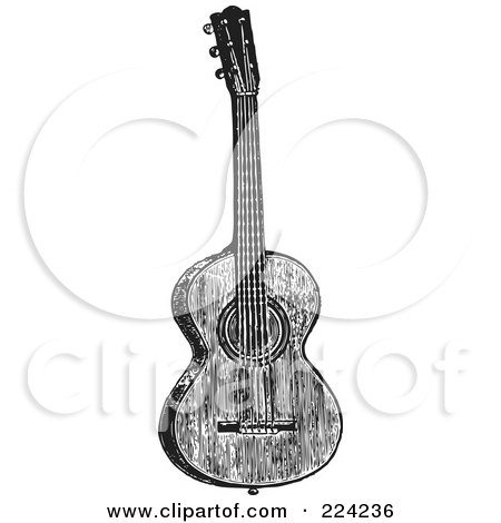 Royalty-Free (RF) Clipart Illustration of a Black And White Guitar - 1 by BestVector