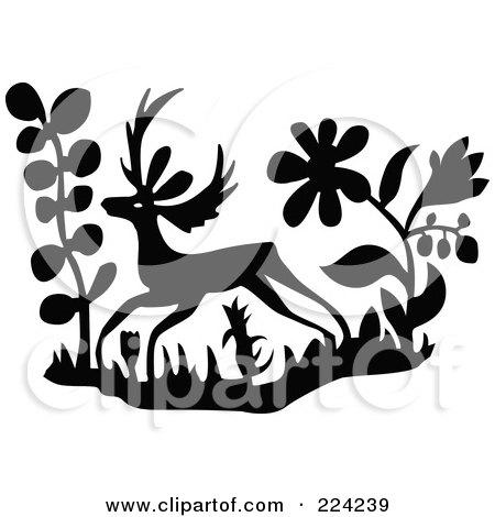 Deer illustration black and white - photo#35