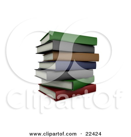 Clipart Illustration of a Pile Of Stacked Colorful School Books Slightly Off Balance by KJ Pargeter