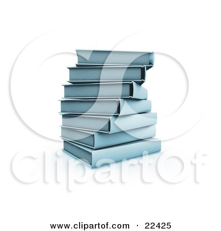 Clipart Illustration of a Pile Of Stacked Blue Library Books Slightly Spiraling by KJ Pargeter