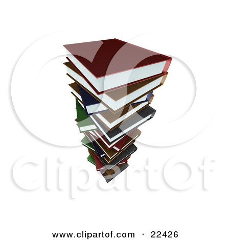 Clipart Illustration of a Tall Stack Of Colorful School Library Books by KJ Pargeter