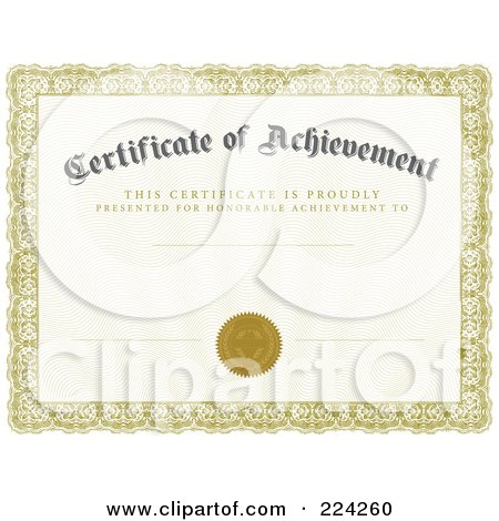 RoyaltyFree RF Clipart Illustration of a Certificate Of – Free Certificate of Achievement