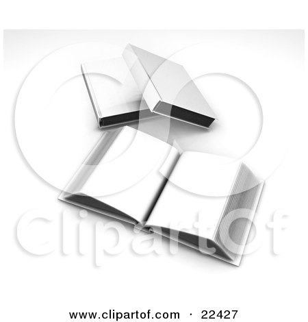Clipart Illustration of an Open Book With Blank Pages Resting In Front Of Two Other Closed White Books by KJ Pargeter