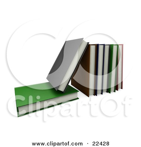 Clipart Illustration of a Green Book Lying Flat With A Gray Book On Top Of It, Leaning Against A Row Of Other Books by KJ Pargeter