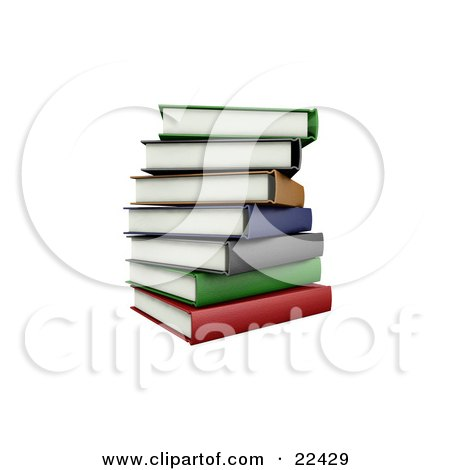 Clipart Illustration of a Pile Of Stacked Colorful Green, Brown, Orange, Blue, Gray, And Red School Library Books Slightly Off Balance by KJ Pargeter