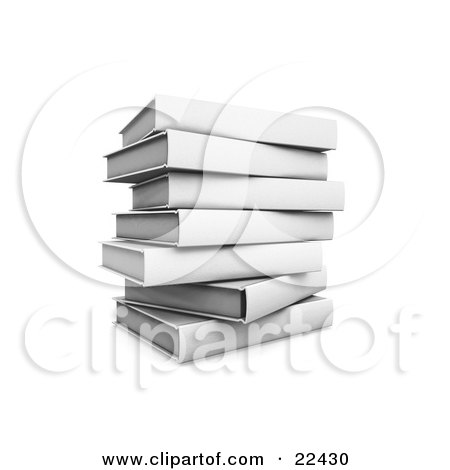 Clipart Illustration of a Pile Of Stacked White Library Books Slightly Off Balance by KJ Pargeter