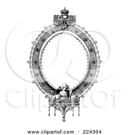 royalty free rf clipart illustration of a black and white ornate oval frame by bestvector