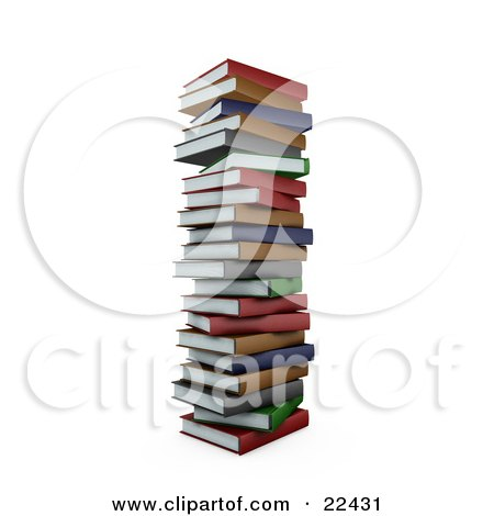 Clipart Illustration of a Tall Pile Of Stacked Colorful Red, Green, Gray, Brown And Blue School Library Books by KJ Pargeter