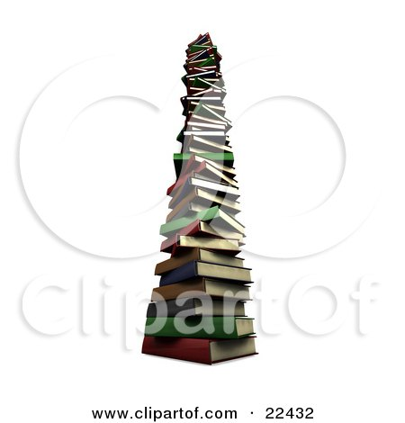 Very Tall Stack Of Colorful Red, Green, Gray, Brown And Blue School Library Books Posters, Art Prints
