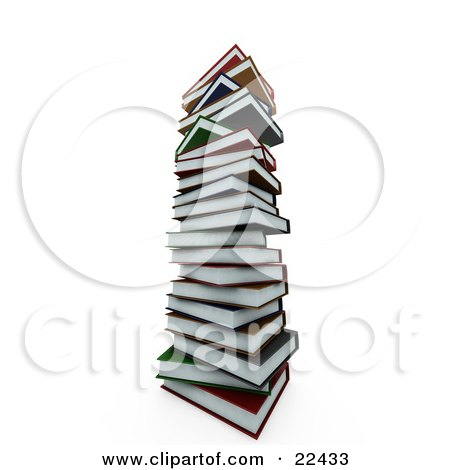 Clipart Illustration of a Colorful Tall Stack Of School Books by KJ Pargeter