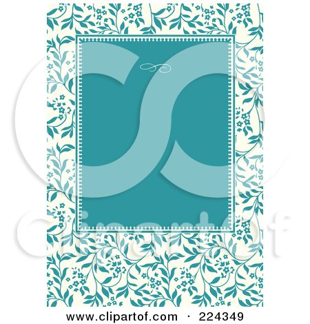RoyaltyFree RF Clipart Illustration of a Turquoise Ivy Pattern Frame