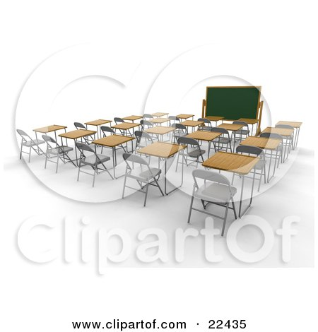 Clipart Illustration of an Empty School Classroom With Single Student Desks With Wooden Tops, Facing A Chalkboard by KJ Pargeter
