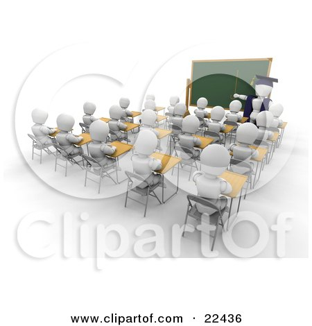 Clipart Illustration of a White Character Teacher In A Cap And Gown, Pointing To A Blank Chalkboard While Teaching A Full Class Of School Students by KJ Pargeter