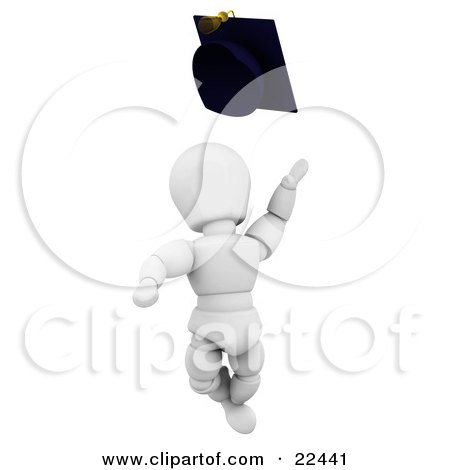 Excited White Character School Graduate Jumping And Throwing A Graduation Cap Posters, Art Prints