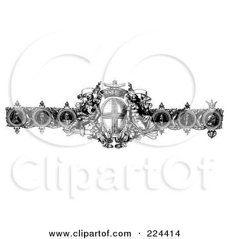 Royalty-Free (RF) Clipart Illustration of a Black And White Baroque Design Border by BestVector