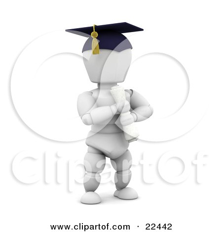 Clipart Illustration of a Proud White Character School Graduate Wearing A Cap And Holding A Diploma by KJ Pargeter
