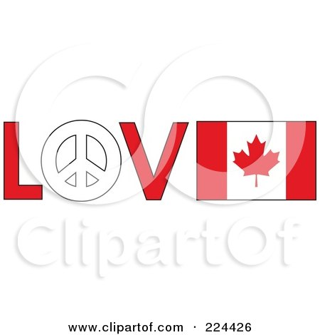 Royalty-Free (RF) Clipart Illustration of The Word Love With A Peace Symbol And Canadian Flag by Maria Bell