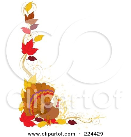 Royalty-Free (RF) Clipart Illustration of a Thanskgiving Border Of Autumn Leaves And A Turkey Bird by Maria Bell