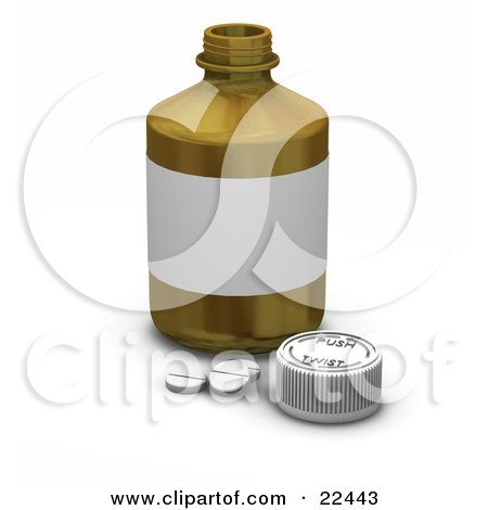Clipart Illustration of Three White Prescription Pills By A Safety Cap In Front Of A Pill Bottle by KJ Pargeter