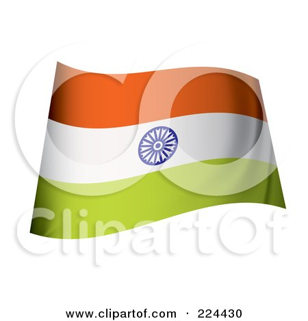 Royalty-Free (RF) Clipart Illustration of a Waving India Flag by michaeltravers