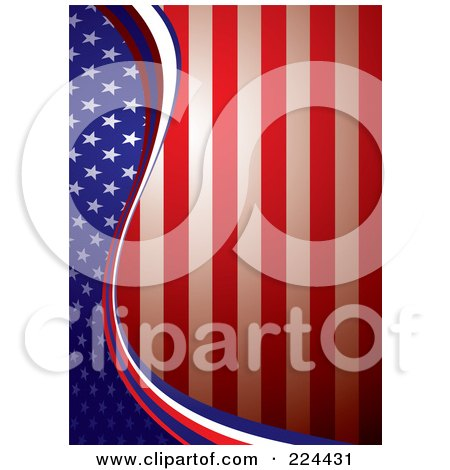 Royalty-Free (RF) Clipart Illustration of a Vertical American Background Of A Wave Of Stars On Blue Dividing Red And White Stripes by michaeltravers