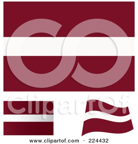 Royalty-Free (RF) Clipart Illustration of a Digital Collage Of Flat, Shaded And Waving Latvia Flags by michaeltravers
