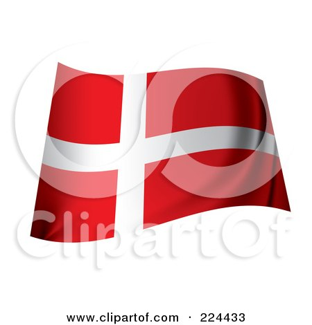 Royalty-Free (RF) Clipart Illustration of a Waving Danish Flag by michaeltravers