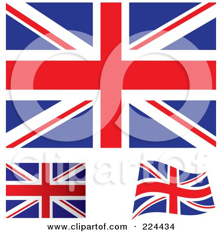 Royalty-Free (RF) Clipart Illustration of a Digital Collage Of Flat, Shaded And Waving UK Flags by michaeltravers