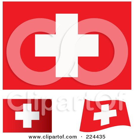 Royalty-Free (RF) Clipart Illustration of a Digital Collage Of Flat, Shaded And Waving Switzerland Flags by michaeltravers