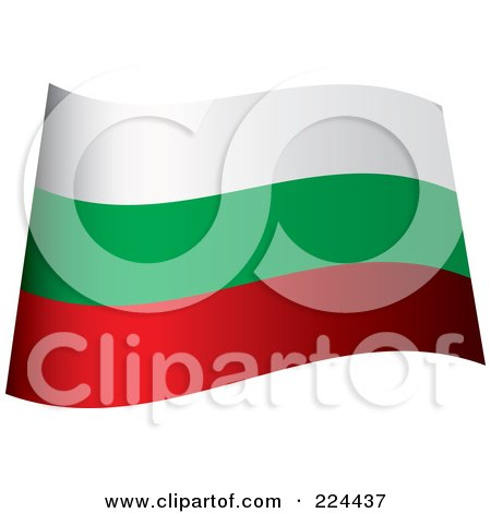 Royalty-Free (RF) Clipart Illustration of a Waving Bulgaria Flag by michaeltravers