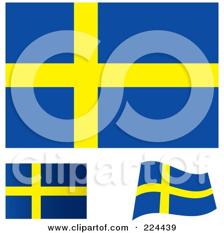 Royalty-Free (RF) Clipart Illustration of a Digital Collage Of Flat, Shaded And Waving Sweden Flags by michaeltravers