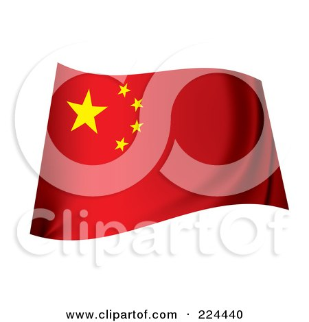 Royalty-Free (RF) Clipart Illustration of a Waving China Flag by michaeltravers