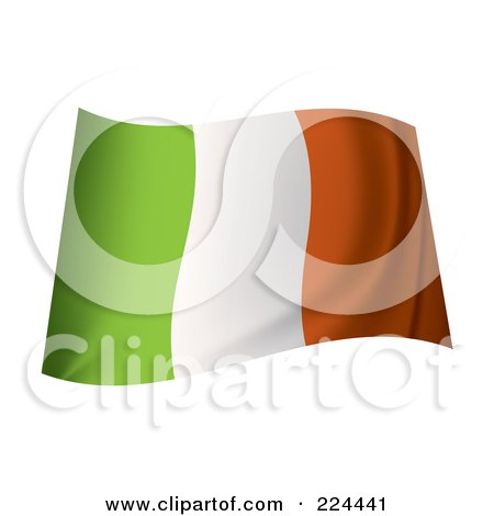 Royalty-Free (RF) Clipart Illustration of a Waving Ireland Flag by michaeltravers