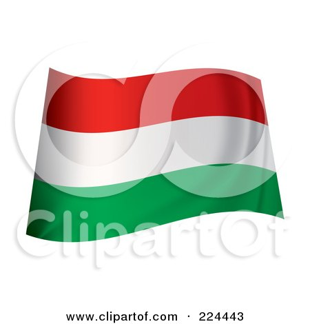 Royalty-Free (RF) Clipart Illustration of a Waving Hungary Flag by michaeltravers