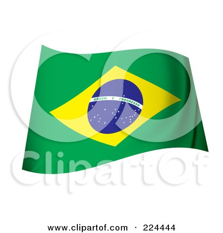 Royalty-Free (RF) Clipart Illustration of a Waving Brazil Flag by michaeltravers