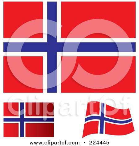Royalty-Free (RF) Clipart Illustration of a Digital Collage Of Flat, Shaded And Waving Norway Flags by michaeltravers