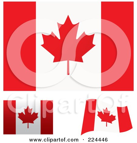 Royalty-Free (RF) Clipart Illustration of a Digital Collage Of Flat, Shaded And Waving Canada Flags by michaeltravers
