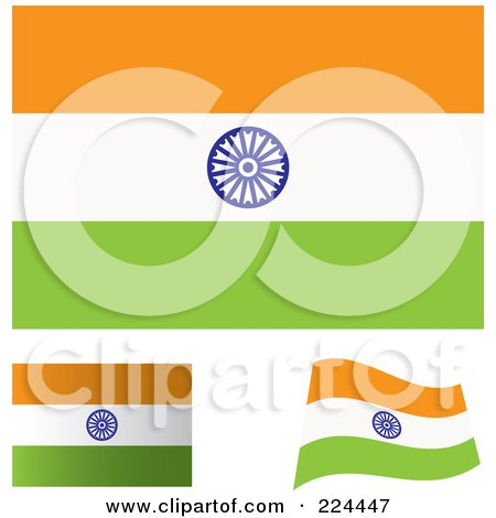 Royalty-Free (RF) Clipart Illustration of a Digital Collage Of Flat, Shaded And Waving India Flags by michaeltravers
