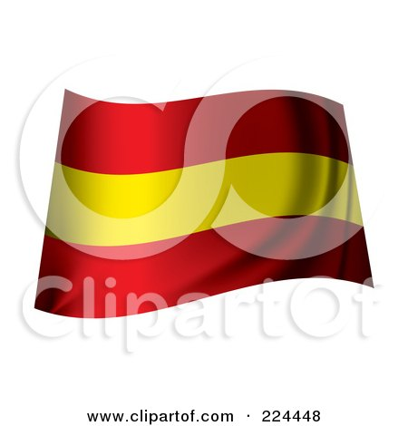 Royalty-Free (RF) Clipart Illustration of a Waving Spain Flag by michaeltravers