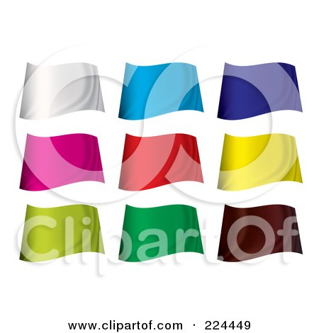 Royalty-Free (RF) Clipart Illustration of a Digital Collage Of Wavy Blank Colorful Flags by michaeltravers