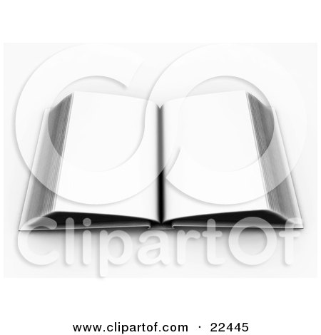 Clipart Illustration of an Open White Book With White Blank Pages by KJ Pargeter