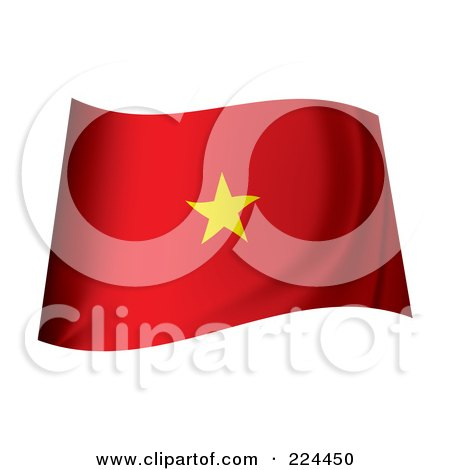 Royalty-Free (RF) Clipart Illustration of a Waving Vietnam Flag by michaeltravers