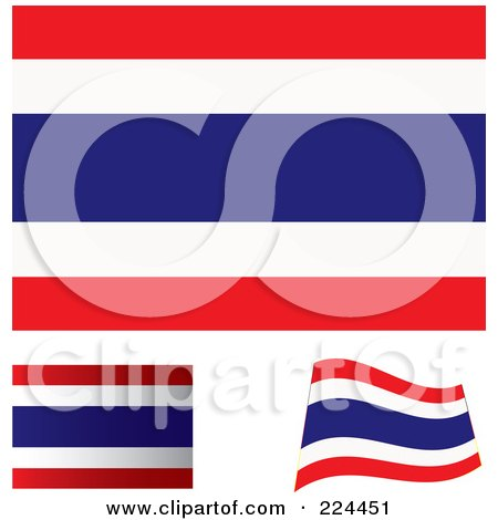 Royalty-Free (RF) Clipart Illustration of a Digital Collage Of Flat, Shaded And Waving Thailand Flags by michaeltravers