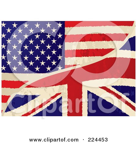 Royalty-Free (RF) Clipart Illustration of a Background Of A Grungy USA And UK Flag by michaeltravers